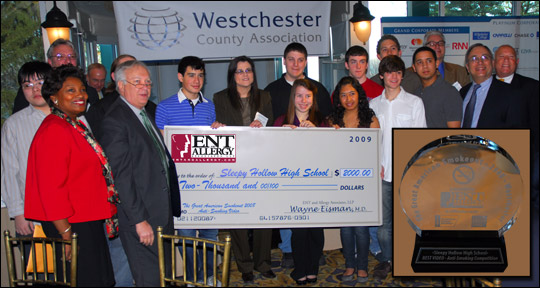 The students of Sleepy Hollow High School are awarded a check for $2000 and an engraved award (inset) for their winning anti-smoking video at the Westchester County Association